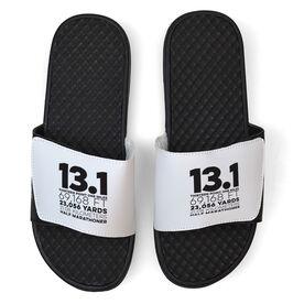 Running White Slide Sandals - 13.1 Math Miles
