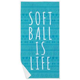 Softball Premium Beach Towel - Softball Is Life Aztec