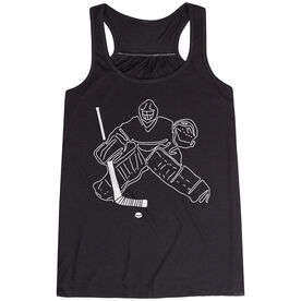 Hockey Flowy Racerback Tank Top - Hockey Goalie Sketch