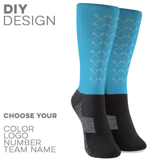 Guys Lacrosse Printed Mid-Calf Socks - Guys Lacrosse Sticks Pattern