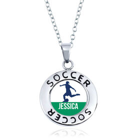 Soccer Circle Necklace - Female Player Silhouette With Name
