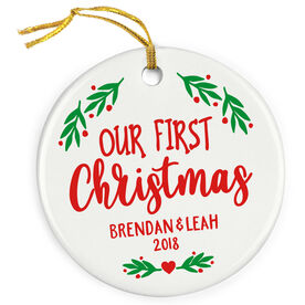 Personalized Porcelain Ornament - Our First Christmas