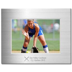 Engraved Softball Frame Silver 5 x 7 with Softball Icon