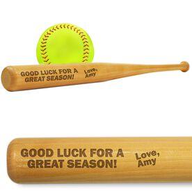 Softball Mini Engraved Bat Good Luck