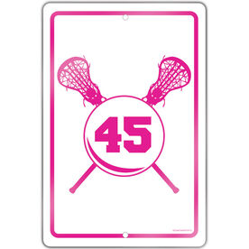 """Lacrosse Aluminum Room Sign Personalized Crossed Sticks And Number Girls (18"""" X 12"""")"""