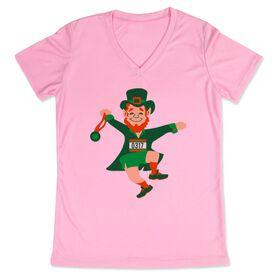 Women's Customized Pink Short Sleeve Tech Tee Lucky Leprechaun Runner
