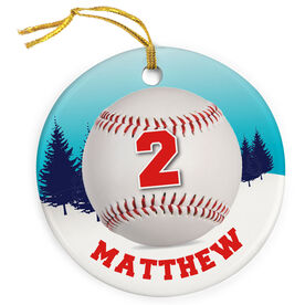 Baseball Porcelain Ornament Personalized Ball in a Winter Wonderland