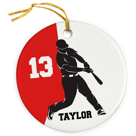 Baseball Porcelain Ornament Personalized Two Color Batter