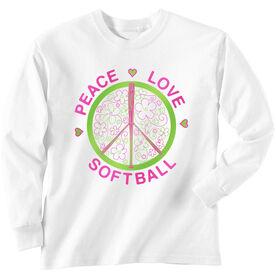 Softball Tshirt Long Sleeve Peace Love Softball Flowers