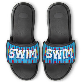 Swimming Repwell® Slide Sandals - Swim Lanes with Bold Text