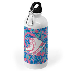 Figure Skating 20 oz. Stainless Steel Water Bottle - Floral with Skates
