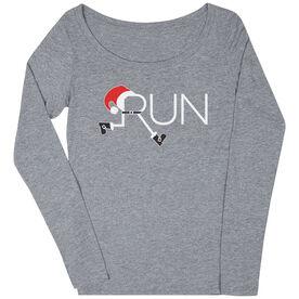 Women's Runner Scoop Neck Long Sleeve Tee - Let's Run For Christmas