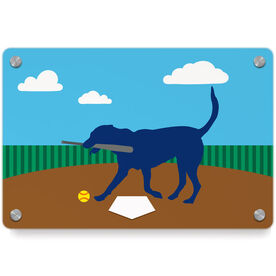 Softball Metal Wall Art Panel - Mitts The Softball Dog