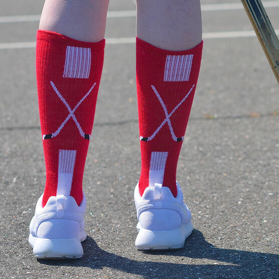 Hockey Woven Mid-Calf Socks - Sticks (Red/White/Black)