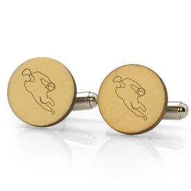Rugby Engraved Wood Cufflinks Player Silhouette
