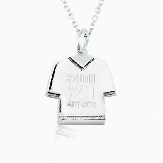 Sterling Silver Personalized Jersey Necklace Name Number and Team