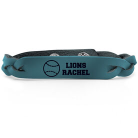 Softball Leather Engraved Bracelet Personalized