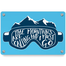 Skiing and Snowboarding Metal Wall Art Panel - The Mountains Are Calling Goggles