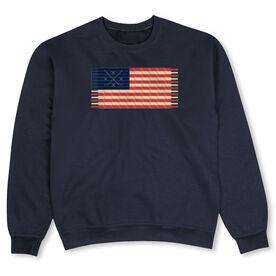 Hockey Crew Neck Sweatshirt - Hockey Laces Flag