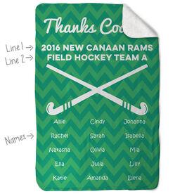 Field Hockey Sherpa Fleece Blanket - Personalized Thanks Coach Chevron
