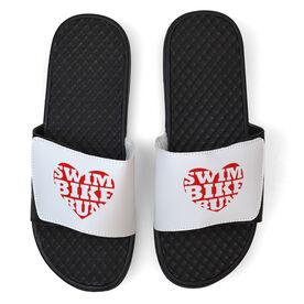 Triathlon White Slide Sandals - Swim Bike Run Heart