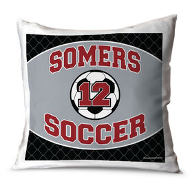 Soccer Throw Pillow Personalized Soccer Team With Soccer Ball And Number