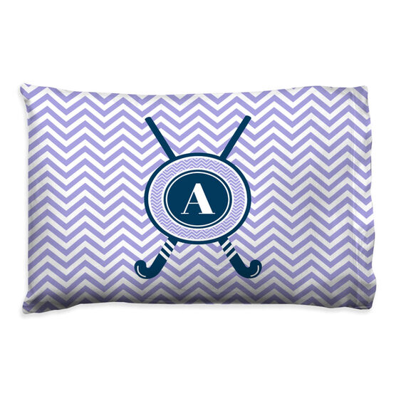Field Hockey Pillowcase - Personalized With Crossed Sticks And Chevron