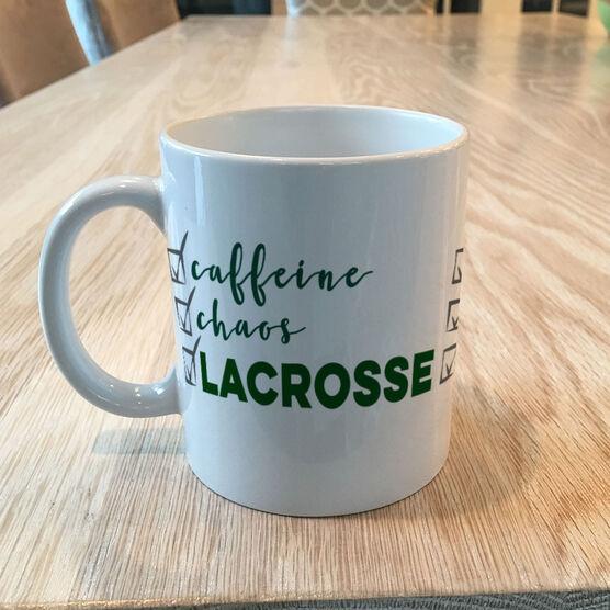 Guys Lacrosse Coffee Mug - Caffeine, Chaos and Lacrosse