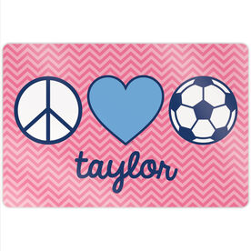 "Soccer 18"" X 12"" Aluminum Room Sign - Personalized Peace Love Soccer Chevron"