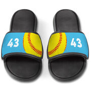 Softball Repwell® Slide Sandals - Ball and Number Reflected