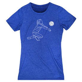 Volleyball Women's Everyday Tee - Volleyball Girl Player Sketch