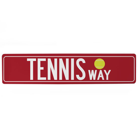 "Tennis Aluminum Room Sign - Tennis Way (4""x18"")"