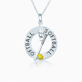 Softball Message Ring and Softball Bat & Ball Charm Necklace (C218 TLF)