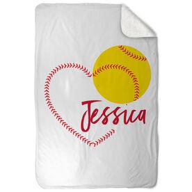 Softball Sherpa Fleece Blanket - Heart with Personalization
