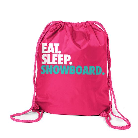 Skiing & Snowboarding Sport Pack Cinch Sack Eat. Sleep. Snowboard.