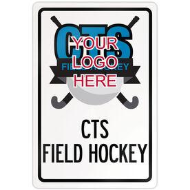 """Field Hockey 18"""" X 12"""" Aluminum Room Sign Field Hockey Custom Logo With Team Name"""