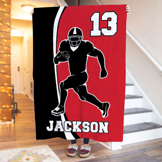 Football Premium Blanket - Personalized Player Silhouette