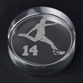 Soccer Personalized Engraved Crystal Gift - Personalized Silhouette (Male)
