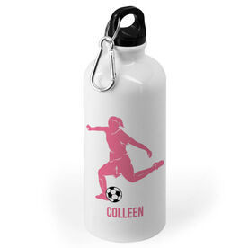 Soccer 20 oz. Stainless Steel Water Bottle - Soccer Female Player Silhouette