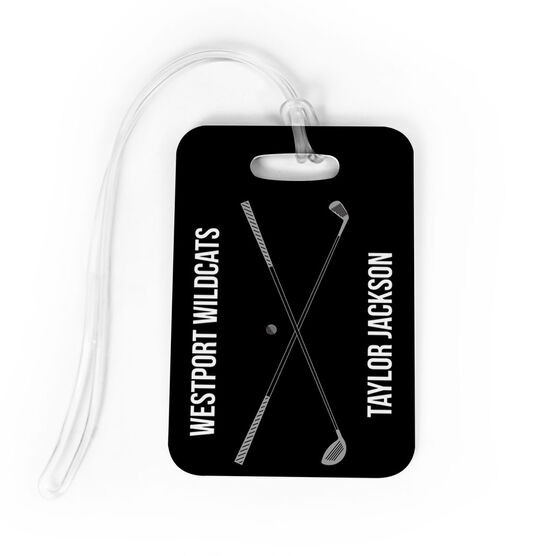 Golf Bag/Luggage Tag - Personalized Text With Crossed Clubs