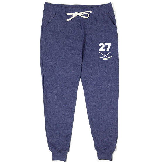 Hockey Women's Joggers - Crossed Sticks With Number