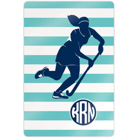"Field Hockey 18"" X 12"" Aluminum Room Sign - Shootout Stripes With Monogram"