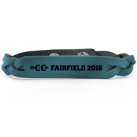 Cross Country Leather Engraved Bracelet Your Text