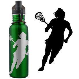 Lacrosse Player Silhouette (F) 24 oz Stainless Steel Water Bottle