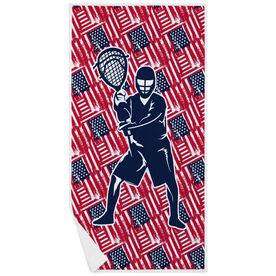 Guys Lacrosse Premium Beach Towel - USA Goalie