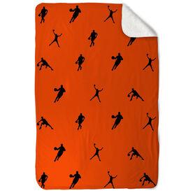 Basketball Sherpa Fleece Blanket Players Throughout Pattern