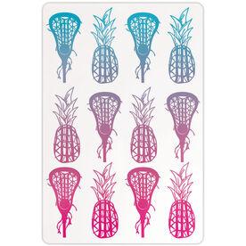"Girls Lacrosse 18"" X 12"" Aluminum Room Sign Lax Pineapples Gradient"