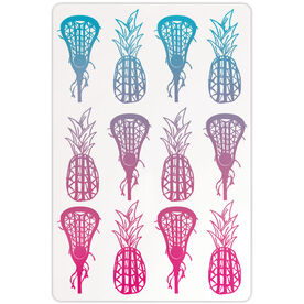 "Girls Lacrosse 18"" X 12"" Aluminum Room Sign Lax Pineapples Gradient"