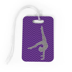 Gymnastics Bag/Luggage Tag - Faux Glitter Chevron Pattern