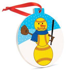 Softball Round Ceramic Ornament  - Softball Snowman